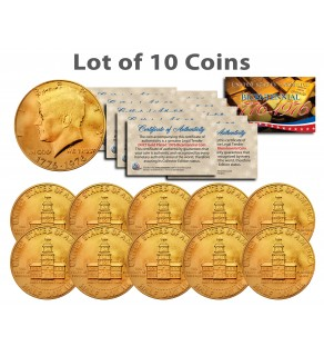Bicentennial 1976 JFK Kennedy Half Dollar US Coins 24K GOLD PLATED w/Capsules (Quantity 10)