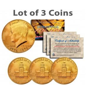 Bicentennial 1976 JFK Kennedy Half Dollar US Coins 24K GOLD PLATED w/Capsules (Quantity 3)
