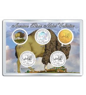 2005 AMERICAN BISON NICKEL Westward Journey 5-Coin US Set - P&D - Hologram - Colorized - 24K Gold Plated