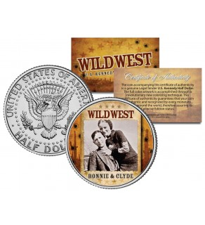 BONNIE & CLYDE - Wild West Series - JFK Kennedy Half Dollar U.S. Colorized Coin