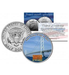 AKASHI KAIKYO BRIDGE - Famous Bridges - Colorized JFK Half Dollar US Coin Japan