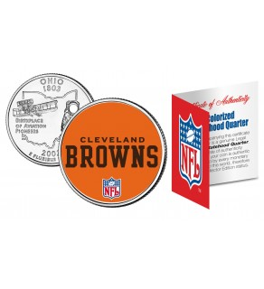 CLEVELAND BROWNS NFL Ohio US Statehood Quarter Colorized Coin  - Officially Licensed