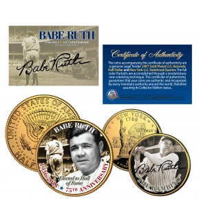 "BABE RUTH ""The Bambino"" NY Quarter & JFK Half Dollar US 2-Coin Set 24K Gold Plated - Officially Licensed"