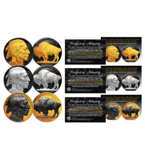 1930's Original Indian Head Buffalo Nickel *FULL DATES*  Set of 3 Rare Metal Versions (Black Ruthenium, Silver, 24K Gold)