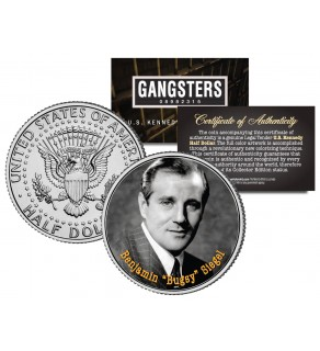 BENJAMIN BUGSY SIEGEL Gangsters JFK Kennedy Half Dollar US Colorized Coin