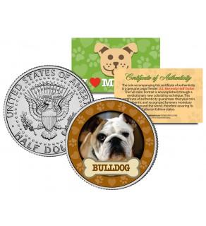 BULLDOG Dog JFK Kennedy Half Dollar U.S. Colorized Coin