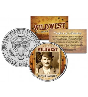 BUTCH CASSIDY - Wild West Series - JFK Kennedy Half Dollar U.S. Colorized Coin