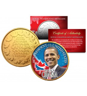 BARACK OBAMA - 44th President - Royal Canadian Mint Medallion 24K Gold Plated Coin