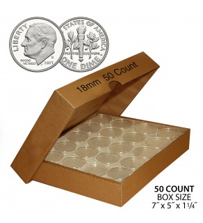 DIME Direct-Fit Airtight 18mm Coin Capsule Holders For DIMES (QTY: 50)  **COMES PACKAGED WITH BOX AS SHOWN**