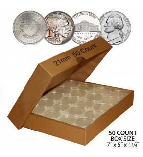 NICKEL Direct-Fit Airtight 21mm Coin Capsule Holders For NICKELS (QTY 50) **COMES PACKAGED WITH BOX AS SHOWN**