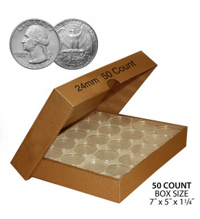 QUARTER Direct-Fit Airtight 24mm Coin Capsule Holders For QUARTERS (QTY: 50) **COMES PACKAGED WITH BOX AS SHOWN**