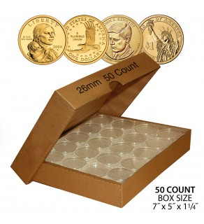 PRESIDENTIAL DOLLAR / SACAGAWEA DOLLAR / SBA DOLLAR Direct-Fit Airtight 26mm Coin Capsule Holders (QTY: 50) **COMES PACKAGED WITH BOX AS SHOWN**