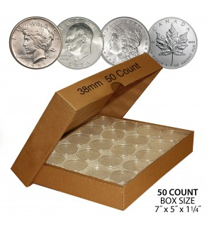 MORGAN DOLLARS / PEACE DOLLARS / IKE DOLLARS / 1oz CANADIAN MAPLE LEAFS Direct-Fit Airtight 38mm Coin Capsule Holders (QTY: 50) **COMES PACKAGED WITH BOX AS SHOWN**