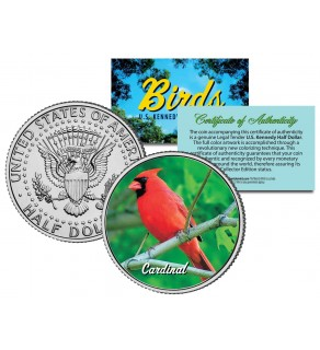 CARDINAL Collectible Birds JFK Kennedy Half Dollar Colorized US Coin