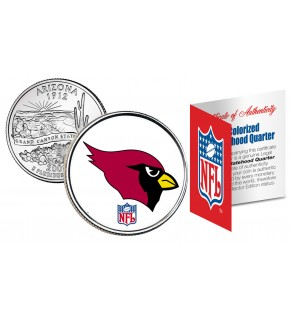 ARIZONA CARDINALS NFL Arizona US Statehood Quarter Colorized Coin  - Officially Licensed