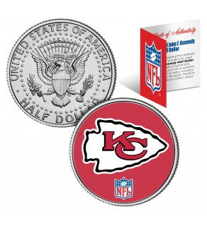 KANSAS CITY CHIEFS NFL JFK Kennedy Half Dollar US Colorized Coin - Officially Licensed
