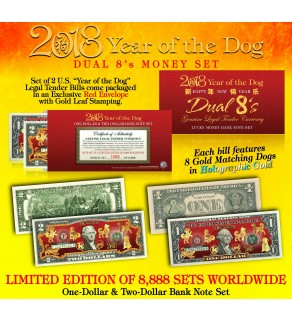 2018 YEAR OF THE DOG $1 & $2 Chinese New Year Lucky Money Set - DUAL 8's GOLD MATCHING DOG's in Premium RED LUNAR ENVELOPE – Limited & Numbered of 8,888 Sets Worldwide