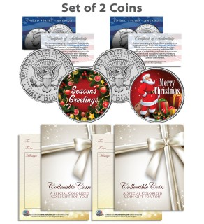 CHRISTMAS - SEASONS GREETINGS - SANTA - Kennedy JFK Half Dollar US 2-Coin Set