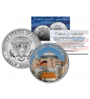 HAGIA SOPHIA - Famous Church - Colorized JFK Half Dollar US Coin Istanbul Turkey