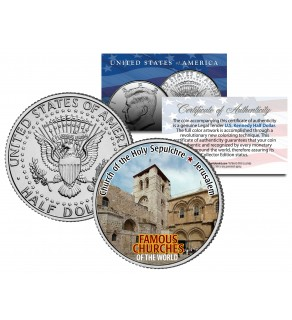 CHURCH OF THE HOLY SEPULCHRE - Famous Churches - Colorized JFK Half Dollar US Coin Jerusalem