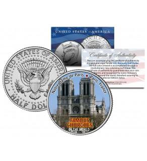 NOTRE DAME DE PARIS - Famous Churches - Colorized JFK Half Dollar US Coin France