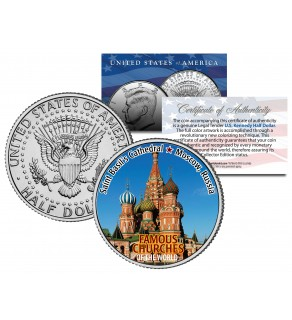 SAINT BASIL'S CATHEDRAL - Famous Churches - Colorized JFK Half Dollar US Coin Moscow Russia