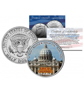 ST PETER'S BASILICA - Famous Churches - Colorized JFK Half Dollar U.S. Coin Rome Italy
