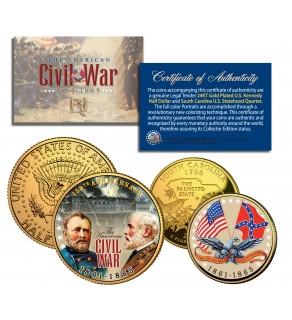 American CIVIL WAR South Carolina Quarter & JFK Half Dollar U.S. 2-Coin Set 24K Gold Plated
