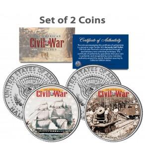 American Civil War - USS CUMBERLAND SHIP & UNION U.S. RAILWAY - JFK Kennedy Half Dollar U.S. 2-Coin Set