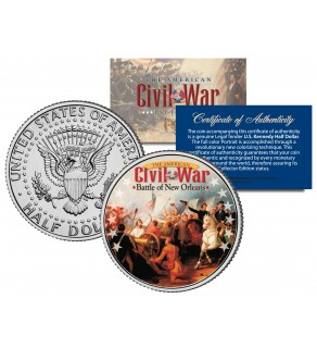 American Civil War - BATTLE OF NEW ORLEANS - JFK Kennedy Half Dollar U.S. Colorized Coin