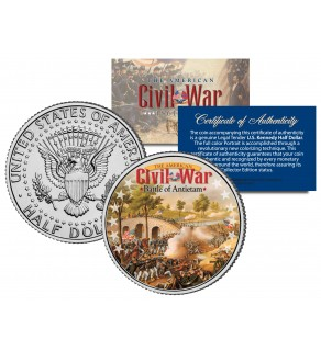 American Civil War - BATTLE OF ANTIETAM  - JFK Kennedy Half Dollar U.S. Colorized Coin