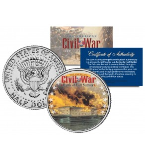 American Civil War - BATTLE OF FORT SUMTER - JFK Kennedy Half Dollar U.S. Colorized Coin
