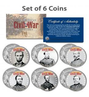 American CIVIL WAR - North UNION LEADERS - JFK Kennedy Half Dollars U.S. 6-Coin Set