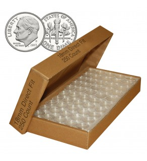 DIME Direct-Fit Airtight 18mm Coin Capsule Holders For DIMES (QTY: 250)