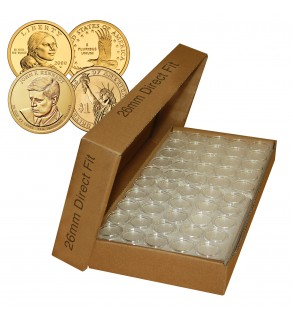25 Direct Fit Airtight 26mm Coin Holders Capsules For PRESIDENTIAL $1 / SACAGAWEA