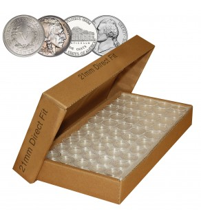 NICKEL Direct-Fit Airtight 21mm Coin Capsule Holders For NICKELS (QTY 25)