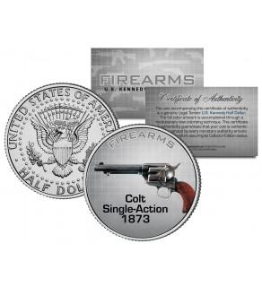 COLT SINGLE-ACTION 1873 Gun Firearm JFK Kennedy Half Dollar US Colorized Coin