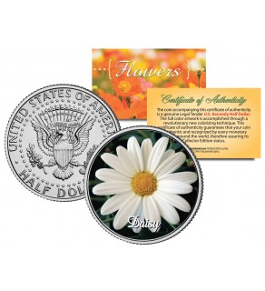 DAISY FLOWER JFK Kennedy Half Dollar U.S. Colorized Coin