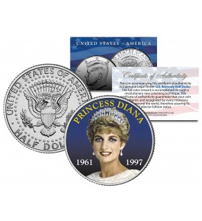 PRINCESS DIANA 1961-1997 - 10th Anniversary - JFK Kennedy Half Dollar U.S. Coin