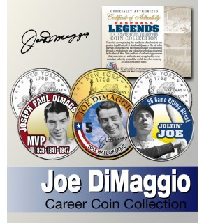 Baseball Legend JOE DiMAGGIO New York Statehood Quarters US Colorized 3-Coin Set - Officially Licensed