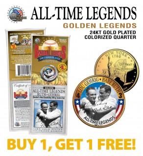 LOU GEHRIG & BABE RUTH Golden Legends 24K Gold Plated State Quarter US Coin - BUY 1 GET 1 FREE - bogo