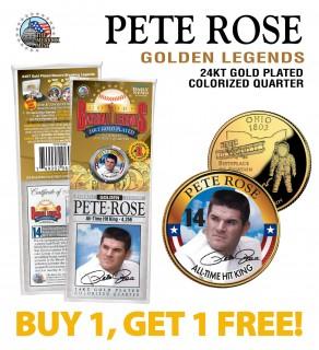 PETE ROSE Golden Legends 24K Gold Plated State Quarter US Coin - BUY 1 GET 1 FREE - bogo