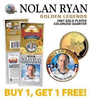 NOLAN RYAN Golden Legends 24K Gold Plated State Quarter US Coin - BUY 1 GET 1 FREE - bogo
