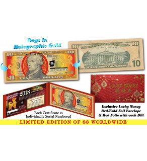 2018 Chinese New Year - YEAR OF THE DOG - Gold Hologram Legal Tender U.S. $10 BILL - LIMITED & NUMBERED of 88
