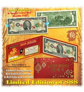 24KT GOLD 2018 Chinese New Year - YEAR OF THE DOG - Legal Tender U.S. $2 BILL * Limited & Numbered of 888 * $2 Lucky Money