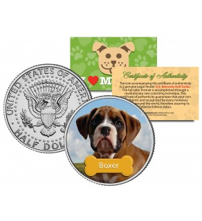 BOXER - Dog - JFK Kennedy Half Dollar U.S. Colorized Coin - Limited Edition