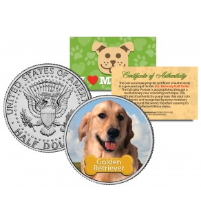GOLDEN RETRIEVER - Dog - JFK Kennedy Half Dollar U.S. Colorized Coin - Limited Edition