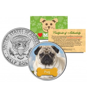 PUG - Dog - JFK Kennedy Half Dollar U.S. Colorized Coin - Limited Edition