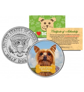 YORKSHIRE TERRIER - Dog - JFK Kennedy Half Dollar U.S. Colorized Coin - Limited Edition
