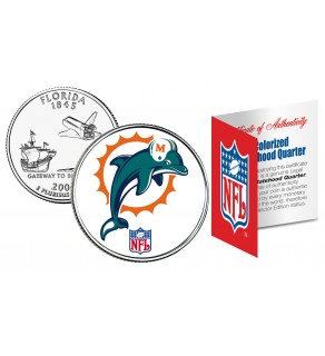 MIAMI DOLPHINS NFL Florida US Statehood Quarter Colorized Coin  - Officially Licensed